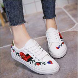 JSS918-white Sepatu Sneakers Motif Bunga Wanita Cantik