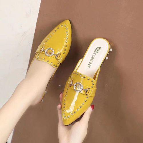 JSS923-yellow Sandal Pesta Import Wanita Cantik Elegan 3CM