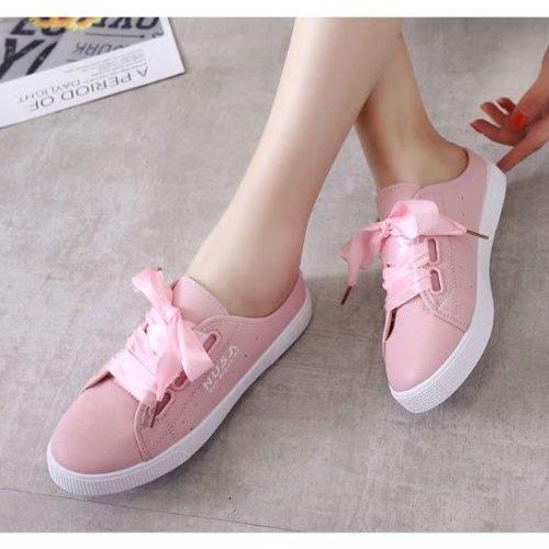 JSSA906-pink Sepatu Sneakers Slip On Wanita Cantik Import