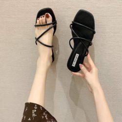 JSSB02-black Sandal Flat Import Wanita Cantik Elegan
