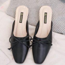 JSSB222-black Sandal Slip On Fashion Wanita Cantik