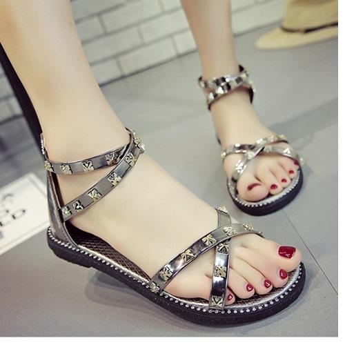 JSSB2A-bronze Sandal Flat Wanita Tali Silang Import Cantik