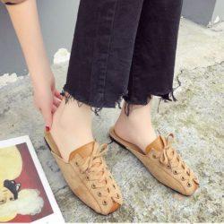 JSSC39-brown Slip On Shoes Wanita Cantik Import Terbaru