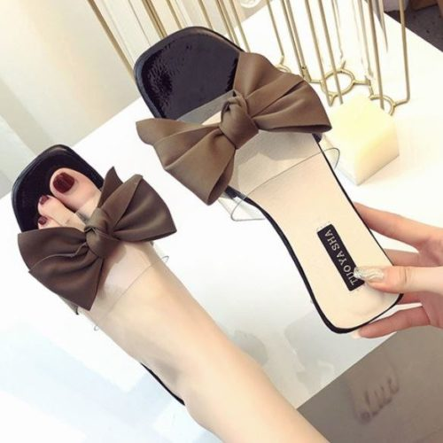JSSF1-black Sandal Flat Pita Wanita Cantik Import