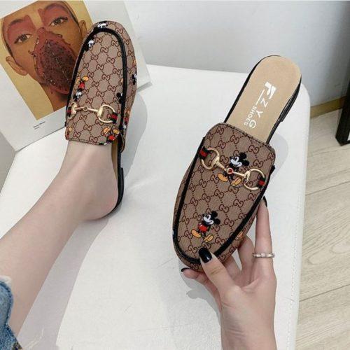 JSSH12-brown Sandal Mickey Wanita Cantik Import Terbaru