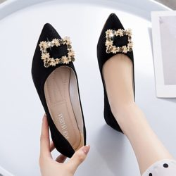 JSSJ30-black Sepatu Pesta Flat Wanita Elegan Import
