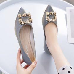 JSSJ30-silver Sepatu Pesta Flat Wanita Elegan Import