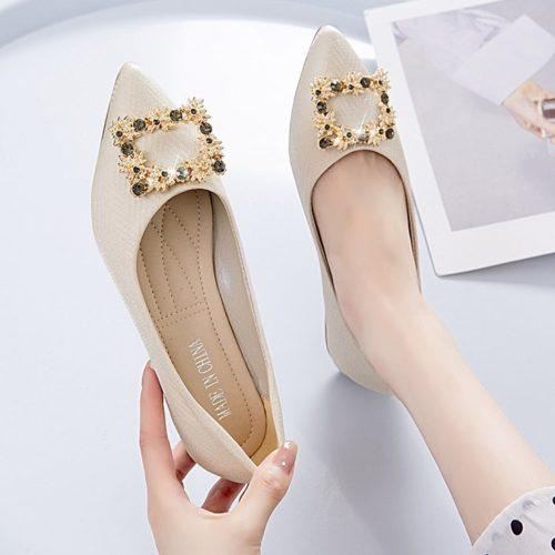 JSSJ30-white Sepatu Pesta Flat Wanita Elegan Import