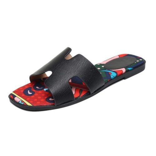 JSSK16-black Sandal Flat Wanita Cantik Comfy Terbaru Import