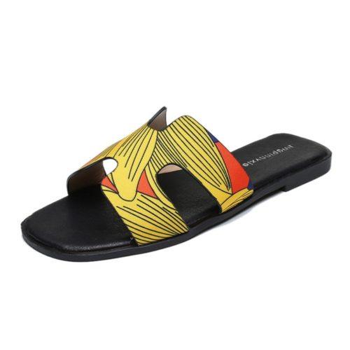 JSSK16-blackyellow Sandal Flat Wanita Cantik Comfy Terbaru Import