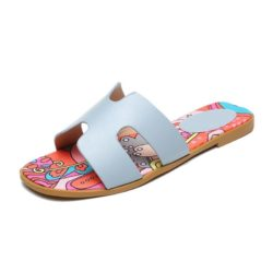 JSSK16-gray Sandal Flat Wanita Cantik Comfy Terbaru Import