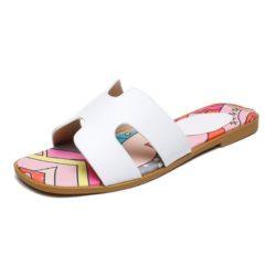 JSSK16-white Sandal Flat Wanita Cantik Comfy Terbaru Import