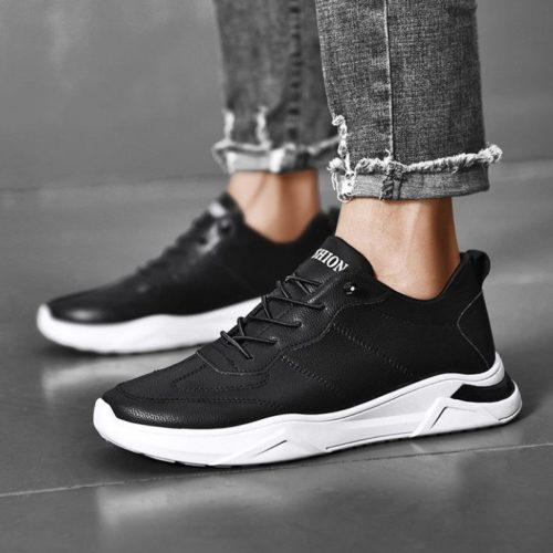 JSSTL16-black Sepatu Sneakers Pria Modis Terbaru