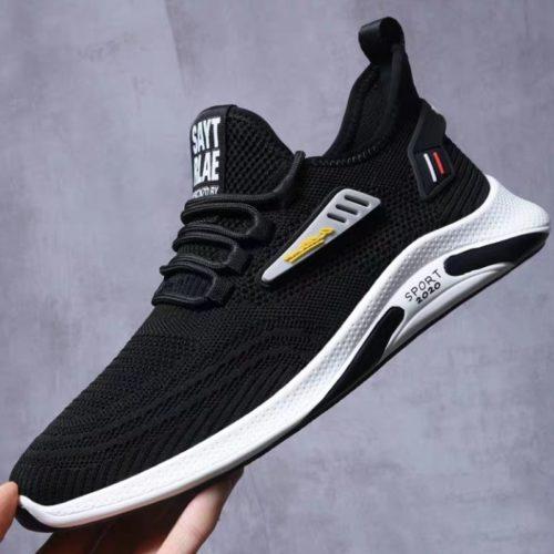 JSSY6-black Sepatu Sneakers Olah Raga Import Pria Modis