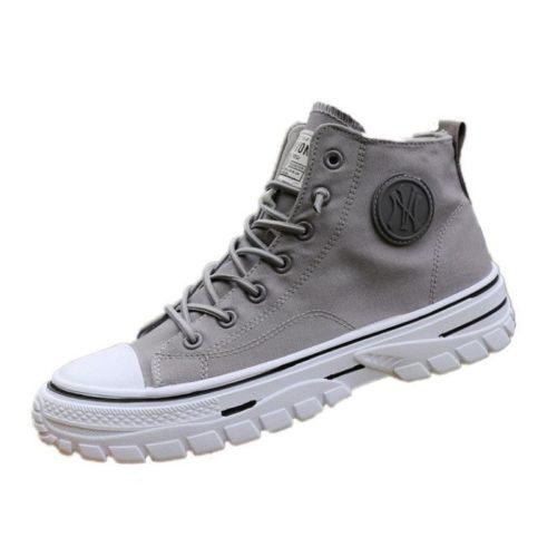 JSSZM-gray Sepatu High Top Sneakers Pria Keren