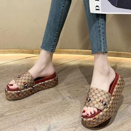 JSW2011-khaki Sandal Wedges Wanita Fashion Mickey