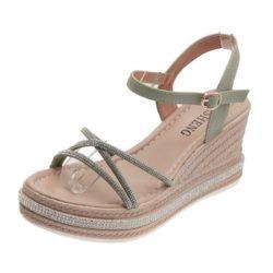 JSW2022-green Sepatu Wedges Tali Wanita Elegan Import 7.5CM