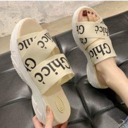 JSW222-beige Sandal Wedges Fashion Wanita Cantik 5CM