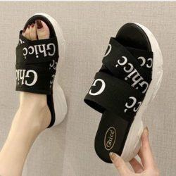 JSW222-black Sandal Wedges Fashion Wanita Cantik 5CM
