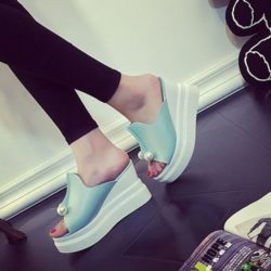 JSWC35-blue Sandal Wedges Wanita Cantik Import
