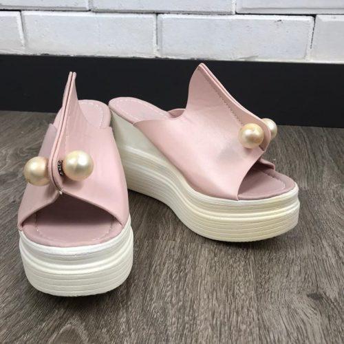 JSWC35-pink Sandal Wedges Wanita Cantik Import (Noda)