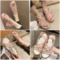 JSWL11-pink Sepatu Wedges Wanita Cantik Import 5Cm