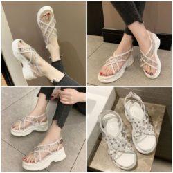 JSWL11-white Sepatu Wedges Wanita Cantik Import 5Cm