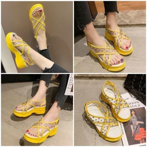 JSWL11-yellow Sepatu Wedges Wanita Cantik Import 5Cm