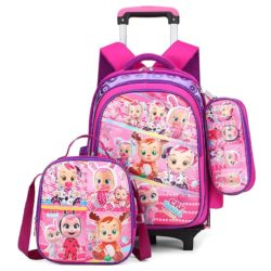 JT0005-baby Tas Troli Sekolah Anak 3in1 Motif Karakter Import (6 Roda)