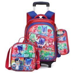 JT0005-pjmask Tas Troli Sekolah Anak 3in1 Motif Karakter Import (6 Roda)