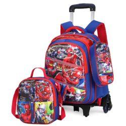 JT0005-spiderman Tas Troli Sekolah Anak 3in1 Motif Karakter Import (6 Roda)