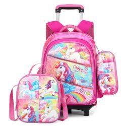 JT0005-unicorn Tas Troli Sekolah Anak 3in1 Motif Karakter Import (6 Roda)