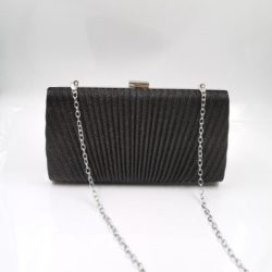 JT00100-black Tas Pesta Clutch Bag Elegan Fashion Import (Tali Rantai Silver)