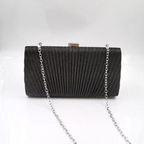 JT00100-black Tas Pesta Clutch Bag Elegan Fashion Import (Tali Rantai Silver)