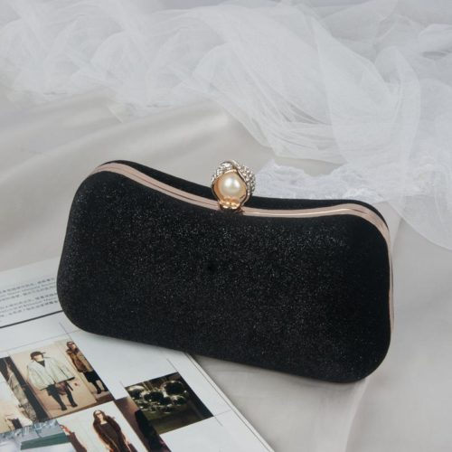 JT00105-black Clutch Bag Pesta Elegan Import Terbaru