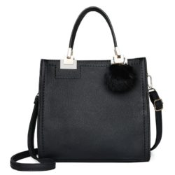 JT0016-black Tas Handbag Pom Pom Stylish Kekinian Import