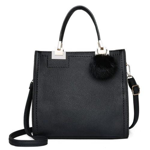 JT0016-black Tas Handbag Pom Pom Stylish Kekinian Import