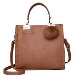 JT0016-brown Tas Handbag Pom Pom Stylish Kekinian Import