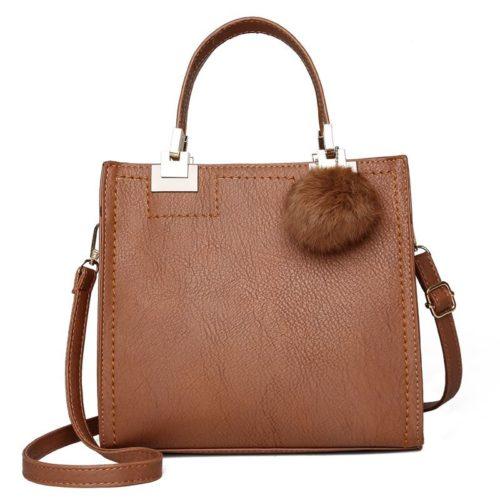 JT0016-brown Tas Handbag Pom Pom Stylish Kekinian Import