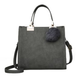 JT0016-gray Tas Handbag Pom Pom Stylish Kekinian Import