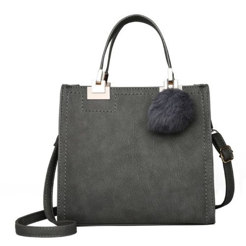 JT0016-gray Tas Handbag Pom Pom Stylish Kekinian Import