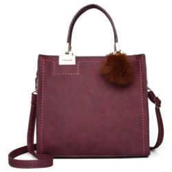 JT0016-purple Tas Handbag Pom Pom Stylish Kekinian Import