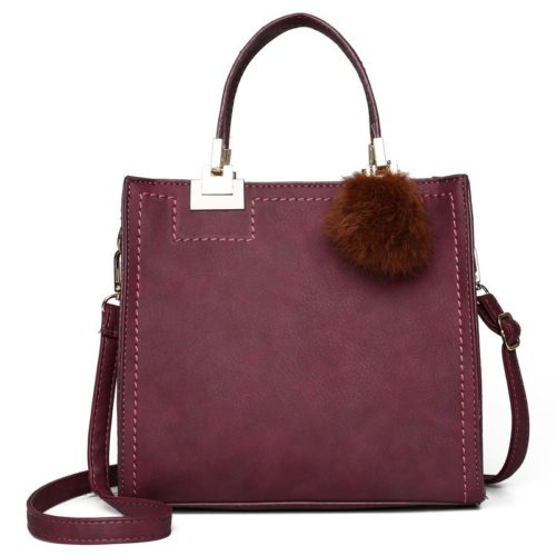 JT0016-purple Tas Handbag Pom Pom Stylish Kekinian Import