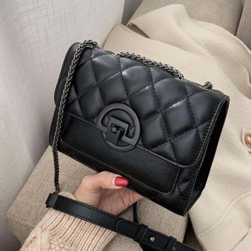 JT00548-black Tas Selempang Tali Rantai Wanita Elegan Import