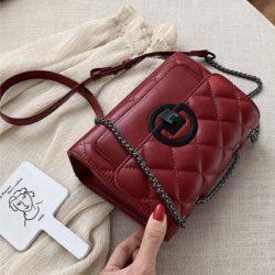 JT00548-red Tas Selempang Tali Rantai Wanita Elegan Import