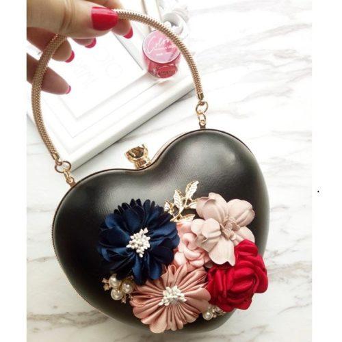 JT0062-black Tas Pesta LOVE Aksen Bunga Cantik Elegan