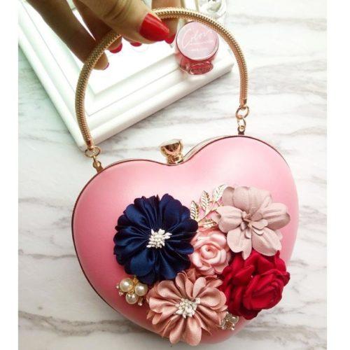 JT0062-pink Tas Pesta LOVE Aksen Bunga Cantik Elegan