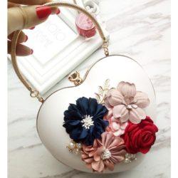 JT0062-white Tas Pesta LOVE Aksen Bunga Cantik Elegan