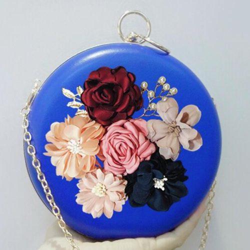 JT0064-blue Tas Pesta Bulat Bunga Import Cantik