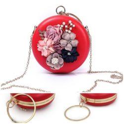 JT0064-red Tas Pesta Bulat Bunga Import Cantik